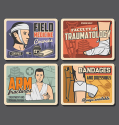 Field medicine courses traumatology first aid vector