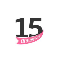 fifteenth anniversary logo number 15 vector image