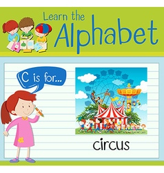 Flashcard letter c is for circus vector