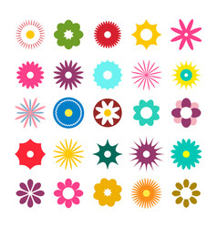 Flat design flowers icons simple flowers set vector