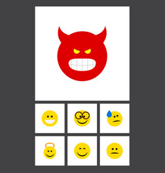 flat icon gesture set of grin smile pouting and vector image