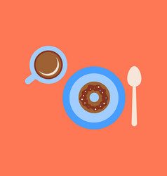 Flat icon on background coffee break cup donut vector