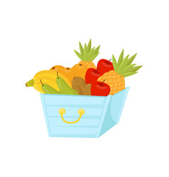 fresh ripe fruits in plastic basket healthy vector image