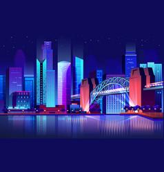 future town with bridge and river futuristic city vector image