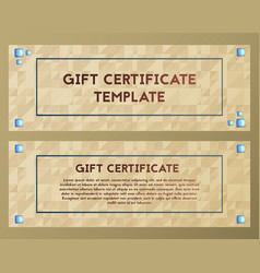 Gift coupon voucher with blue stones greeting vector