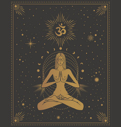 Girl in lotus pose with omm sign with chakras vector