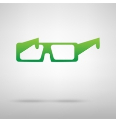 Glasses Green icon with shadow vector image