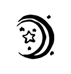 Hand drawn witch and magic moon vector