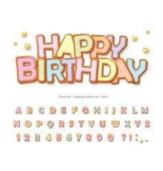 Happy birthday sweet font cartoon cookie vector