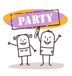 Happy couple with party sign vector