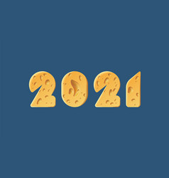 happy new year 2021 text design cheese texture vector image