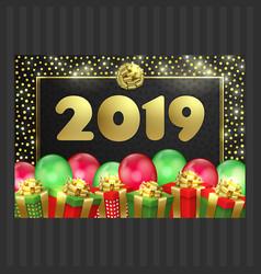 Happy new year christmas card gift box balloons vector