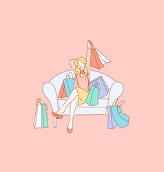 happy shopaholic with purchases consumerism vector image