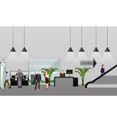 Horizontal banner with bank interiors vector image