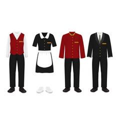 hotel staff uniform set vector image