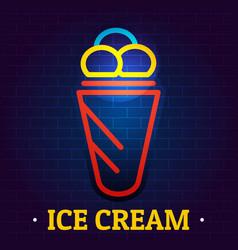 ice cream signboard logo flat style vector image
