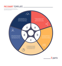 infographic circle chart template five vector image