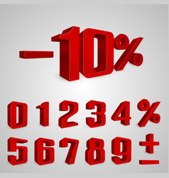 Interest rebate set red numbers vector
