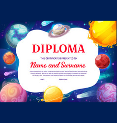 Kids diploma galaxy planets certificate vector