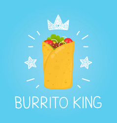 King burrito cartoon flat and doodle vector