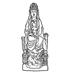 Kuan-yin vintage vector