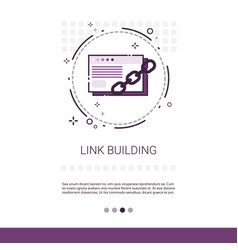 Link building seo keywording search banner with vector