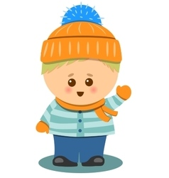 little Cute Boy With Winter Clothes Isolated vector image vector image