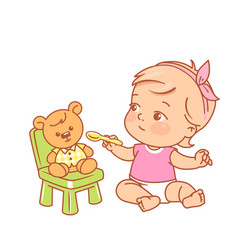 Little girl feed toy bagirl hold spoon give vector