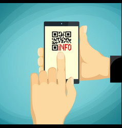 Man holding a smartphone qr-code on phone vector