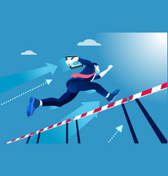 Manager race jumping over obstacles vector