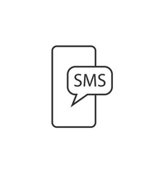 mobile sms line icon simple modern flat for vector image
