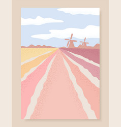 netherlands landscape with tulips field and vector image
