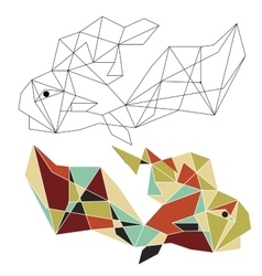 Origami china fish doodle vector