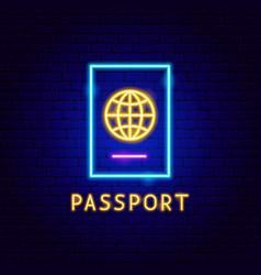 passport neon label vector image