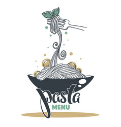 Pasta menu hand drawn sketch with lettering vector