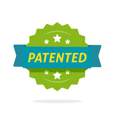 patented label icon flat cartoon rosette vector image