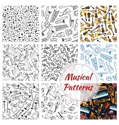 Patterns of musical instruments and music notes vector image