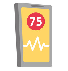 Phone app for heart rate measuring cartoon vector