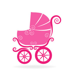 pink baby stroller icon vector image