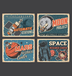 Planers research space exploration grungy plates vector