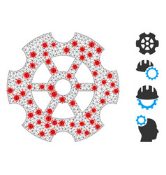 Polygonal mesh gear icon with infectious centers vector