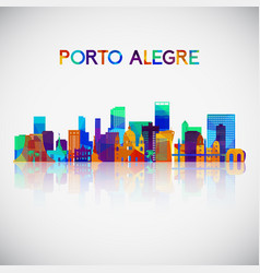 porto alegre skyline silhouette in colorful vector image
