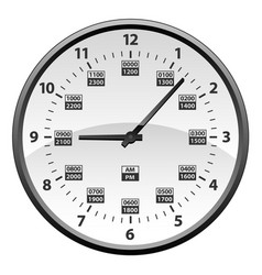 Realistic 12 to 24 hour military time clock vector