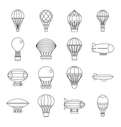 retro balloons aircraft icons set outline style vector image