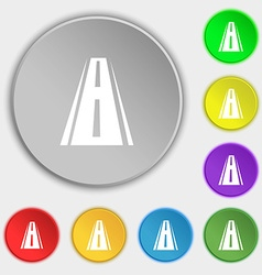 Road icon sign Symbols on eight flat buttons vector image