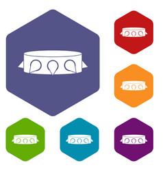 Rock collar icons set hexagon vector