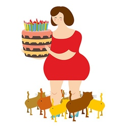 Sad woman of forty and birthday cake Fat lonely vector
