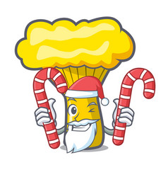 Santa with candy chanterelle mushroom mascot vector