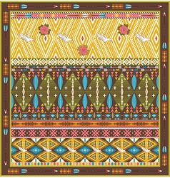 Seamless colorful aztec rug with birds and arrow vector