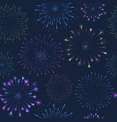 seamless firework pattern salute on dark vector image